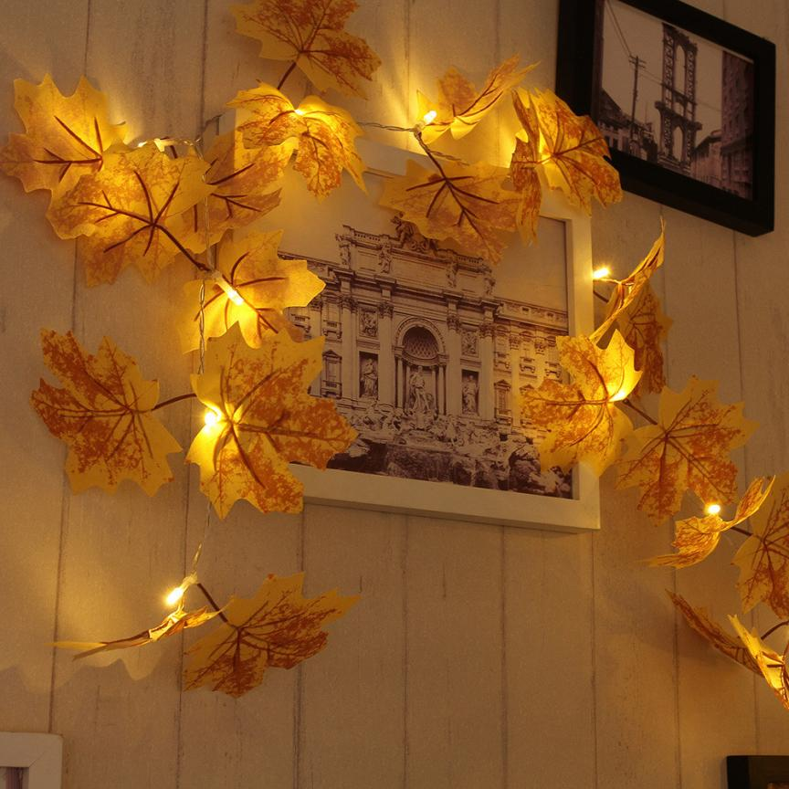 10 LED Maple Leaves Pencere Perde Işıkları Dize Lambası House Party Dekor 11.8