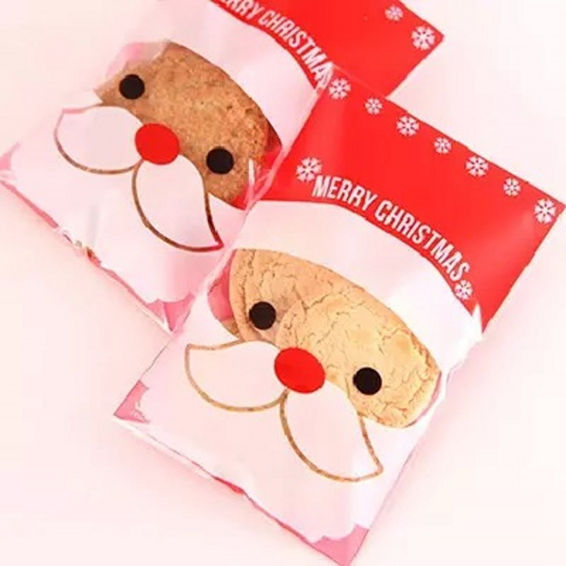 500pcs Wholesale Santa Claus New Style Self-adhesive Christmas Gift and Candy Packaging bag OPP Cake and Cookie Baking Bag BZ202