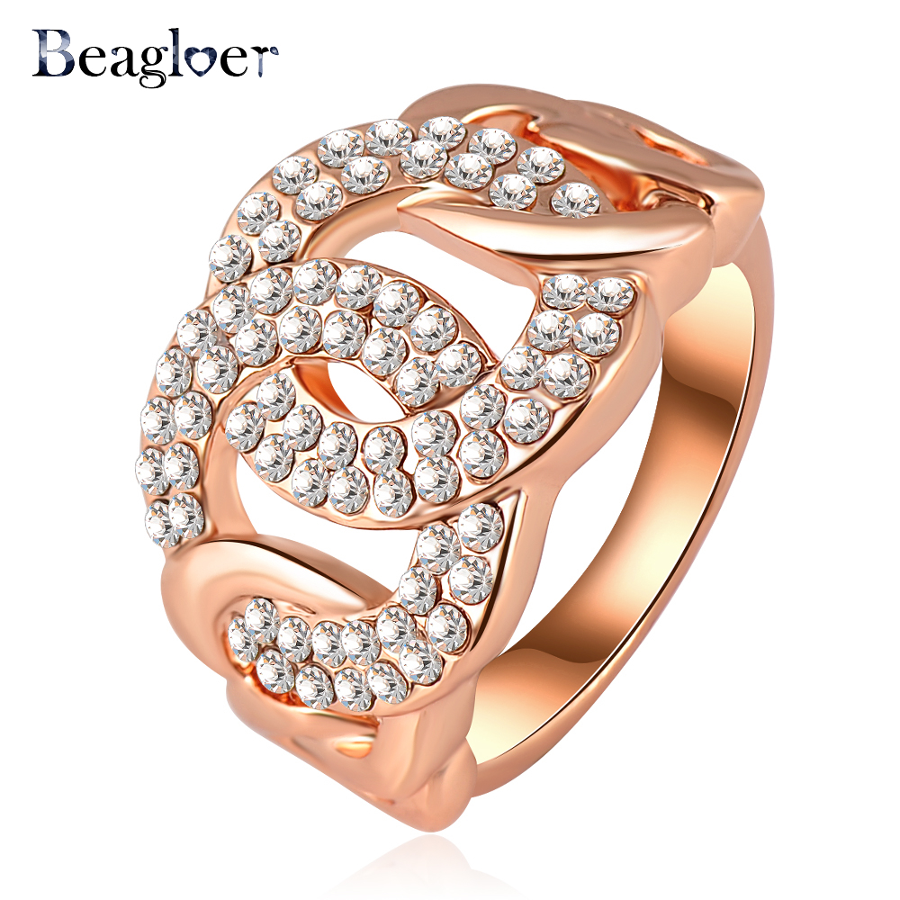 Beagloer Classic Design Ring Rose Gold Color Genuine Austrian Crystal Engagement Rings Fashion Jeweslry Ri-HQ0143