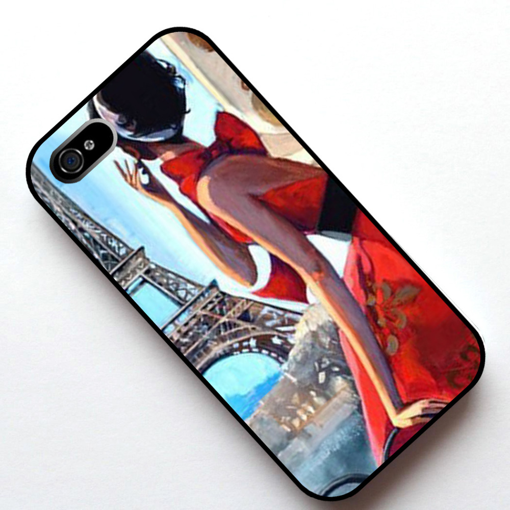 Eyfel Kulesi Paris w Lady Kılıf Kapak, Apple Iphone 4 s 5 5 s SE 5c 6 6 s 6 artı 6 s artı